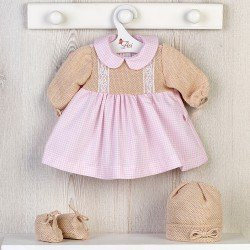 Así doll Outfit 46 cm - Knitted dress with pink squares with hat and booties for Leo