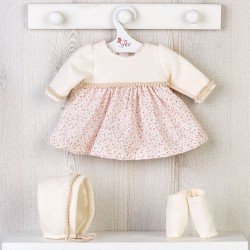 Así doll Outfit 43 cm - Pink flower printed beige dress with hat and booties for María