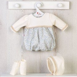 Así doll Outfit 43 cm - Blue flower printed and beige outfit with hat and booties for Pablo