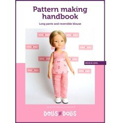 Dolls And Dolls downloadable pattern for Las Amigas dolls - Long pants with reversible blouse