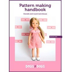 Dolls And Dolls downloadable pattern for Las Amigas dolls - Overalls with round neck blouse