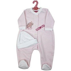 Tenue de poupée Antonio Juan 52 cm - Collection Mi Primer Reborn - Pyjama rayé rose avec chapeau