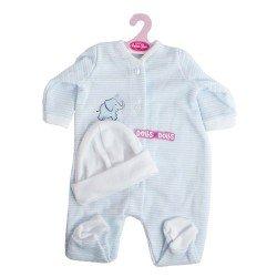 Tenue de poupée Antonio Juan 52 cm - Collection Mi Primer Reborn - Pyjama rayé bleu avec chapeau