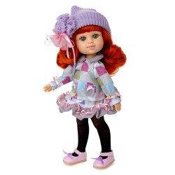 Poupée Berjuan 35 cm - Boutique dolls - My Girl aux cheveux roux avec chapeau liliac