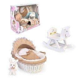 Accessoires pour poupée Barriguitas Classic 15 cm - Ensemble nacelle, cheval à bascule et lapin en peluche