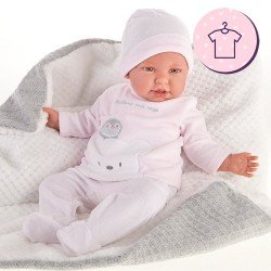 Tenue de poupée Antonio Juan 52 cm - Collection Mi Primer Reborn - Pyjama pingouin rayé rose avec chapeau