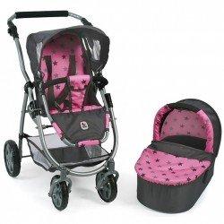 Emotion 2 en 1 landau de poupée 77 cm - Combinaison chaise et nacelle - Bayer Chic 2000 - Etoiles grises