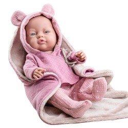 Poupée Paola Reina 45 cm - Bebita avec couverture rose