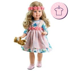 Ensemble pour poupée Paola Reina 60 cm - Las Reinas - Robe fleurie Alma et ours en peluche