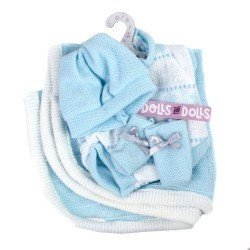 Vêtements pour poupées Llorens 26 cm - Barboteuse bébé imprimé bleu avec chaussons, bonnet et couverture
