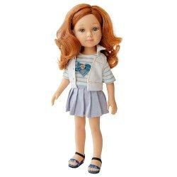 Poupée Reina del Norte 32 cm - Sofie avec t-shirt rayé et jupe à carreaux