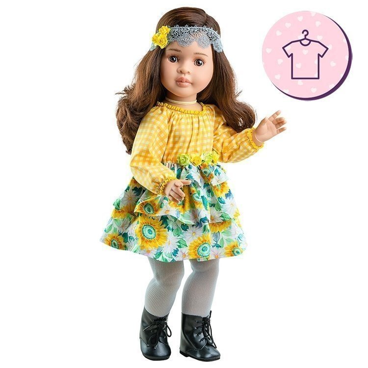 Paola Reina Puppenoutfit 60 cm - Las Reinas - Lidia Kleid mit Blumen- und Karomuster