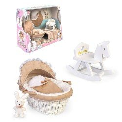 Zubehör für Barriguitas Classic Puppe 15 cm - Set aus Babywanne, Schaukelpferd und Stoffhase