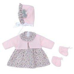 Outfit für Así Puppe 46 cm - Graues Blumenkleid mit rosa Jacke mit Hut und Stiefeletten für Leo