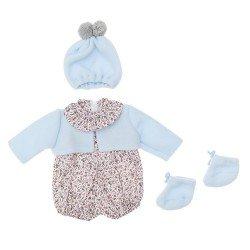Outfit für Así Puppe 46 cm - Grauer Blumenstrampler mit hellblauer Jacke, Hut und Stiefeletten für Leo