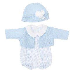 Outfit für Así Puppe 46 cm - Mini Rauten hellblauer Strampler mit hellblauer Jacke mit Hut für Leo