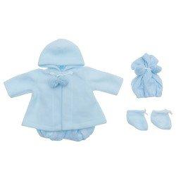 Outfit für Así Puppe 46 cm - Blauer Strickspielanzug mit Dufflecoat, Mütze und Stiefeletten für Leo