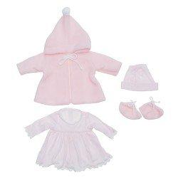 Outfit für Así-Puppe 43 cm - Rosa Strickkleid, Dufflecoat, Mütze und Stiefeletten für María-Puppe