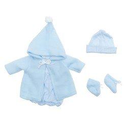 Outfit für Así-Puppe 43 cm - Hellblauer Strickspielanzug, Dufflecoat, Mütze und Stiefeletten für Pablo-Puppe