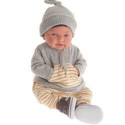 Antonio Juan Puppe 40 cm - Pipo mit Haaren und Trainingsanzug Reborn limitierte Serie