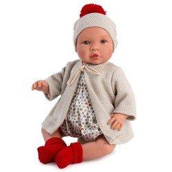 Así Puppe 46 cm - Leo mit beigem Cabanmantel und buntem Strampler