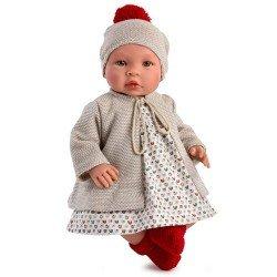Así Puppe 46 cm - Leo mit beigem Cabanmantel und buntem Kleid