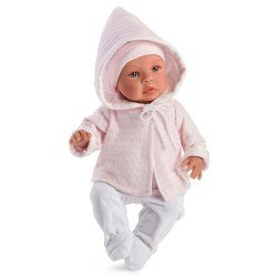 Así Puppe 46 cm - Leo mit rosa Dufflecoat und weißen Leggings