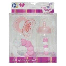 Zubehör für Puppen Berenguer - Rosa Babyflasche, Rassel und Schnuller Set