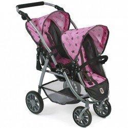 Vario twin Kinderwagen 79 cm für Puppen - Bayer Chic 2000 - Graue Sterne