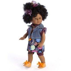 D'Nenes Puppe 34 cm - Afroamerikanische Marieta mit bedrucktem Kleid