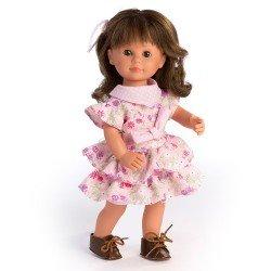 D'Nenes Puppe 34 cm - Marieta mit Zopf und Blumen bedrucktem Kleid