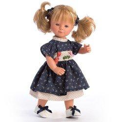 D'Nenes Puppe 34 cm - Marieta mit Zöpfen und blauem Kleid