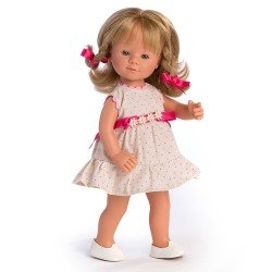 D'Nenes Puppe 34 cm - Marieta mit Zöpfen und Punkten bedrucktes Kleid