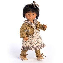 D'Nenes Puppe 34 cm - Marieta mit Blumen und Karos bedrucktem Kleid