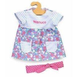 Outfit für Nenuco Puppe 42 cm - Geblümtes und gestreiftes Kleid mit Stirnband