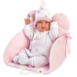 Llorens Puppe 44 cm - Neugeborenes Weinendes Tina mit Sitzwechselmatte
