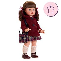 Outfit für Mariquita Pérez Puppe 50 cm - Burgunder Schulmädchen-Set