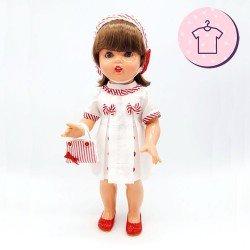 Outfit für Mariquita Pérez Puppe 50 cm - Weißes Kleid mit gestreifter Haube