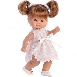 Así Puppe 20 cm - Bomboncin mit rosa Vichy-Kleid