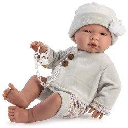 Así Puppe 43 cm - Pablo mit samtgrauem Outfit