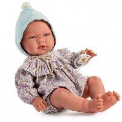 Así Puppe 43 cm - Pablo mit floralem Rüschenstrampler und mintgrünem Hut