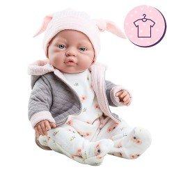 Paola Reina Puppe Outfit 45 cm - Koala Pyjama mit Hut für Los Bebitos