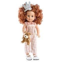 Paola Reina Puppe 45 cm - Soy tú - Becca mit kariertem Overall und Krone