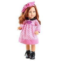 Paola Reina Puppe 45 cm - Soy tú - Becky mit kariertem Kleid mit Kuss