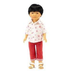 Vestida de Azul Puppe 28 cm - Los Amigos de Carlota - Kenzo mit roten Jeans und Hemd mit Seestern-Print