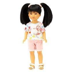 Vestida de Azul Puppe 28 cm - Los Amigos de Carlota - Umi mit rosa Jeans-Shorts und Katzen-T-Shirt