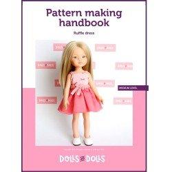Puppen und Puppen herunterladbares Muster für Las Amigas-Puppen - Rüschenkleid