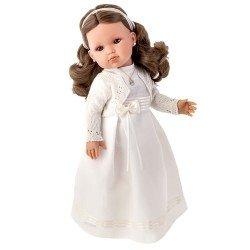Bambola Antonio Juan 45 cm - Bella comunione bruna con abito beige, giacca cucita e certificato