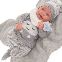 Bambola Antonio Juan 40 cm - Pipo con coperta grigia Reborn serie limitata