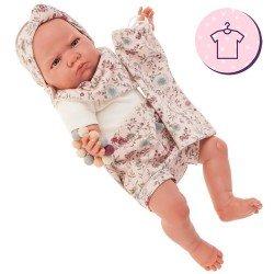 Completo bambola Antonio Juan 52 cm - Collezione Mi Primer Reborn - Completo stampa fiori con fascia e zaino